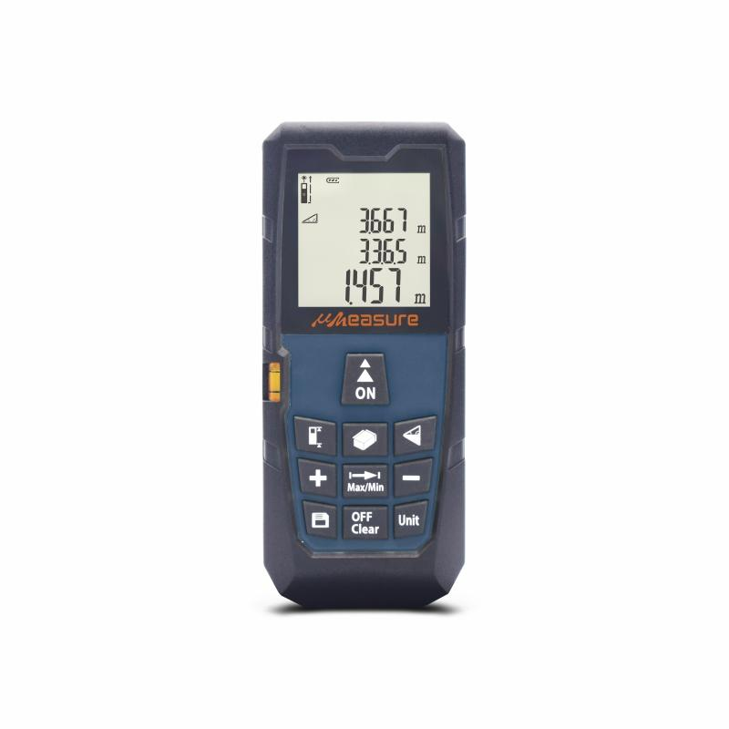 Electronic Laser Measure Tape, 262Ft M/In/Ft with Bubble Levels Backlit LCD and Pythagorean Mode for Distance Volume Area Measurement Laser Distance Finder Come with Pouch and Strap uMeasure