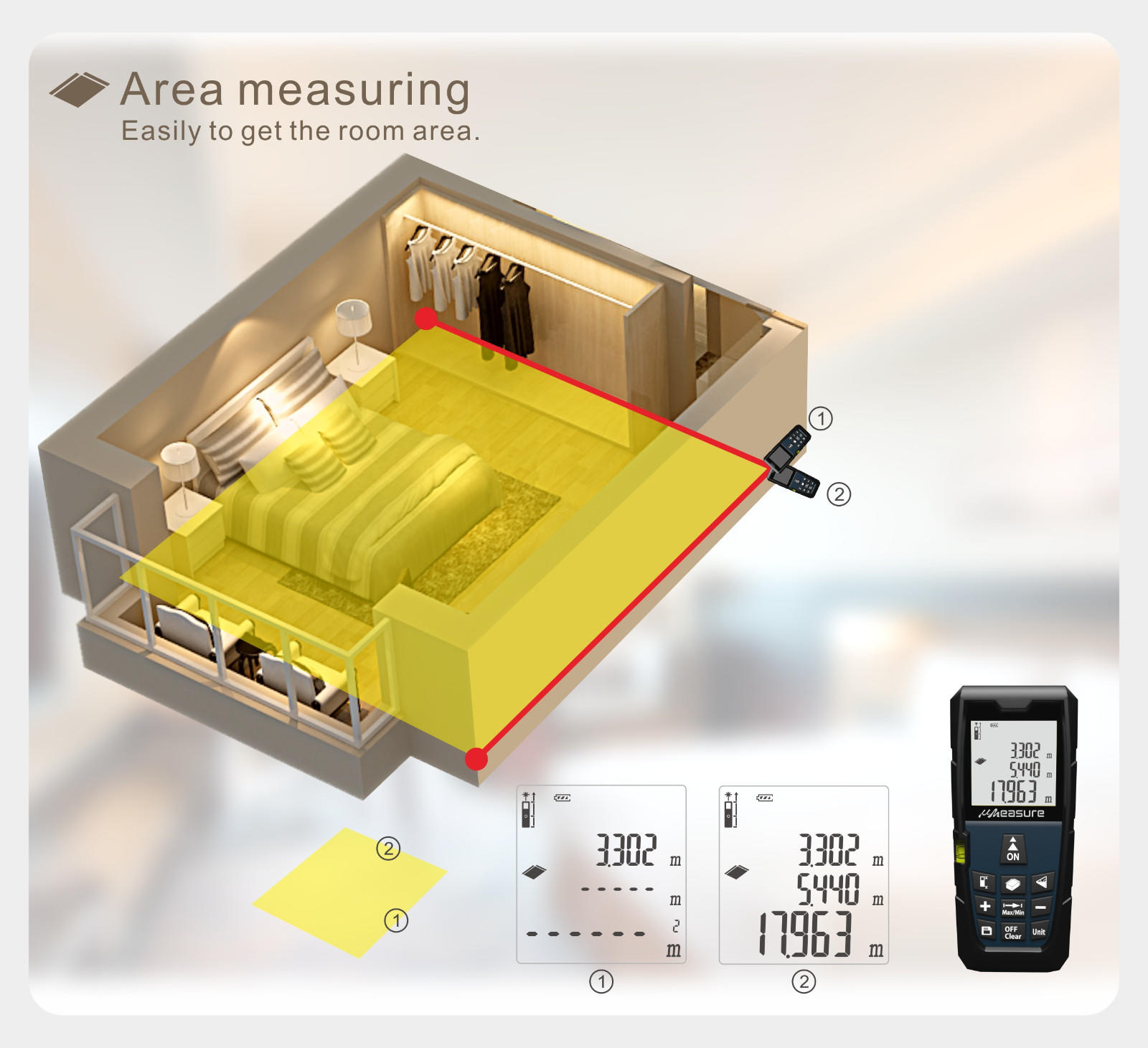 UMeasure multifunction best laser measure display for measuring