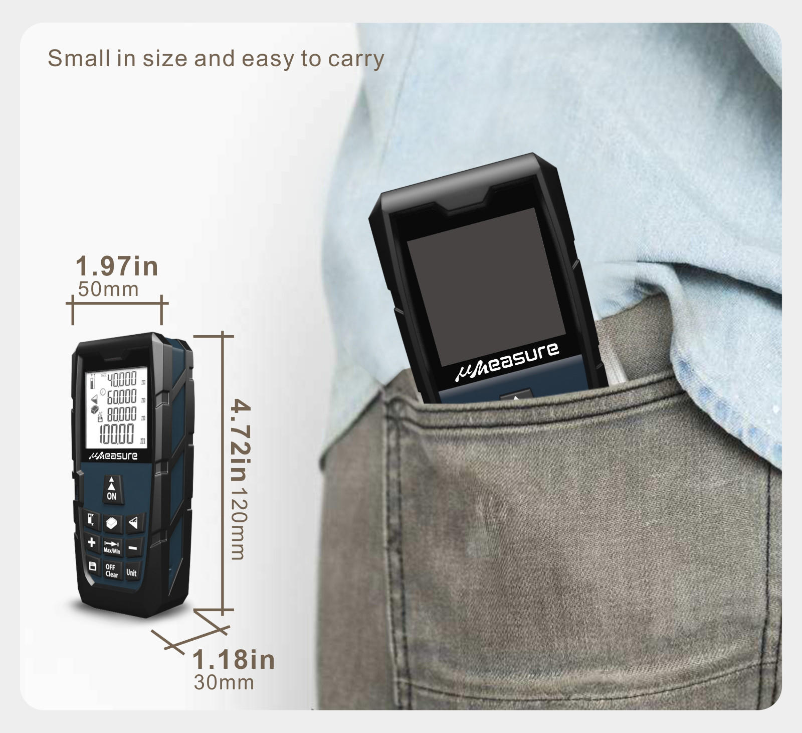 UMeasure touch distance measuring device handhold for worker