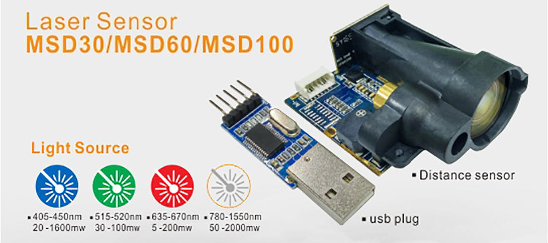 Meter laser distance sensor RS232 interface length height automatically measure MSD30/60/100-1